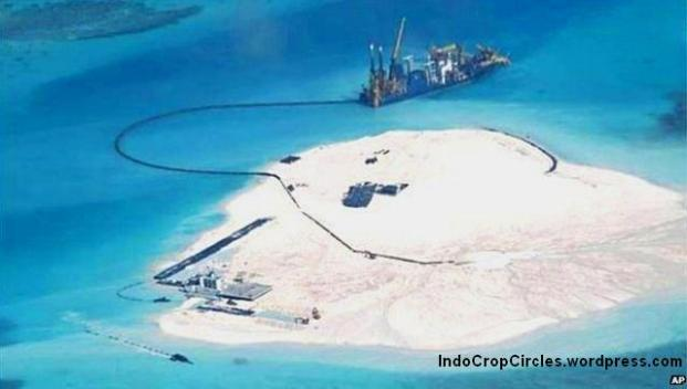 Manila released this photo in May 2014 appearing to show Chinese land reclamation at Johnson South Reef (AP).