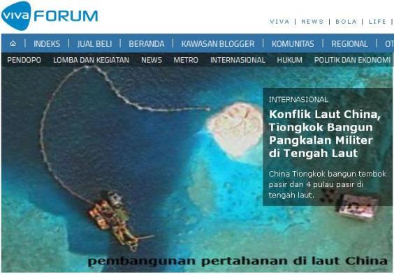 vivanews china bangun pangkalan militer di Laut Cina Selatan