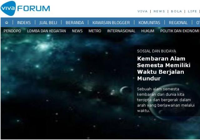 vivanews kembaran alam semesta yang berjalan mundur