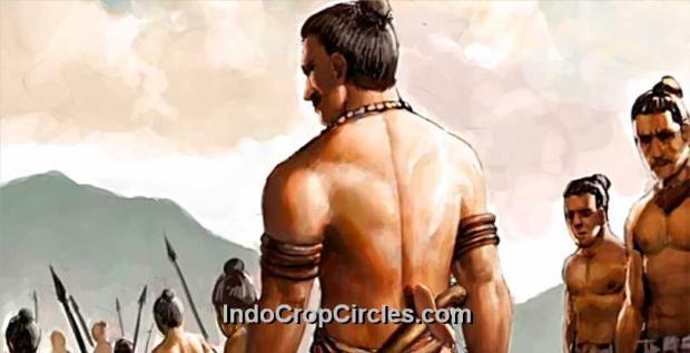 Lukisan ilustrasi, terlihat tentara Kerajaan Majapahit yang masih tersisa, berbaris untuk menyebrang ke Pulau Bali,