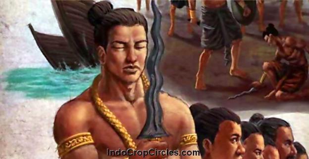 Lukisan ilustrasi, tampak seorang prajurit sedang memegang sebilah Keris, senjata andalan ciri khas kerajaan-kerajaan di Asia Tenggara.