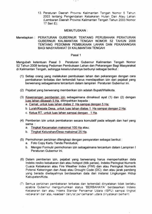 Halaman 3 - Pergub Kalteng No 15 Tahun 2010 legalkan bakar hutan. (klik untuk memperbesar). (Sumber berkas: web Kalteng.go.id)