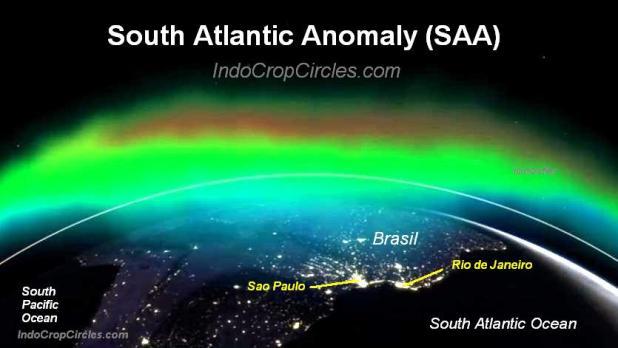 South Atlantic Anomaly (SAA0 diatas Brazil dan Samudera Atlantik selatan.