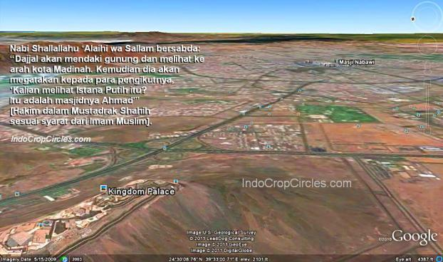 Istana Dajjal Kingdom Palace dan Mesjid Nabawi Google Earth 01