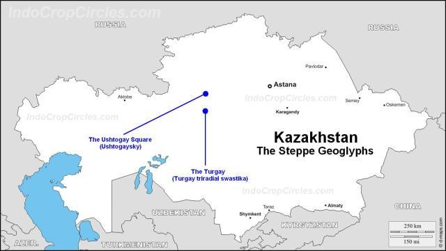 kazakhstan geoglyphs map