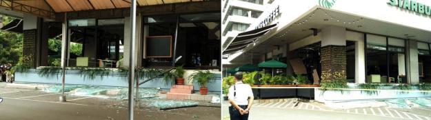 Tampak kaca di teras kafe Starbucks di Gedung Skyline pecah