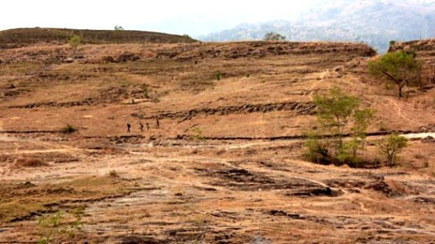 Landscape photo shows an excavation site near Meta Mange.