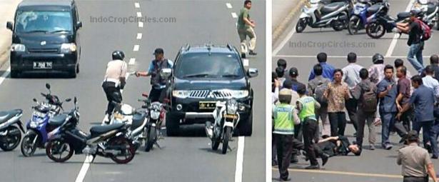 Tampak seorang teroris menodongkan pistol ke arah petugas kepolisian (foto kiri), dan mengacungkan pistol ke arah warga, tampak pula seorang terlihat roboh ke aspal (foto kanan)