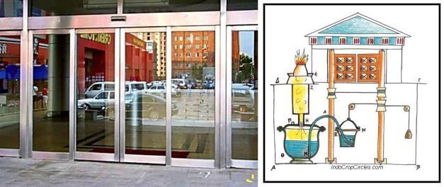 Pintu otomatis masa kini (kiri) dan pintu otomatis yang digerakkan oleh uap air (kanan)