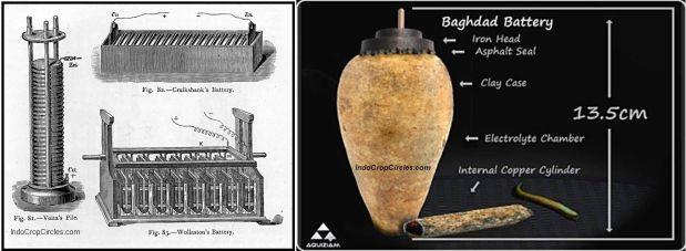 Baterai ciptaan Volta (kiri) dan baterat Baghdad (kanan)