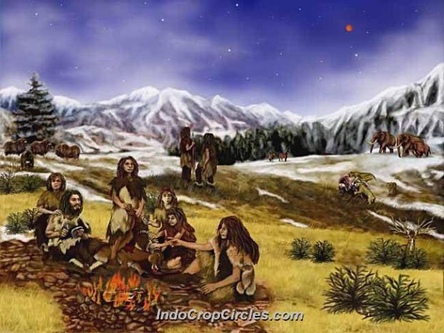 Ilustrasi Keluarga Neanderthal sedang berkumpul.