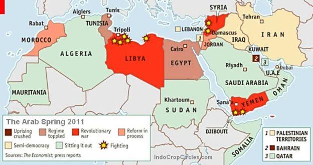 Arab Spring pada tahun 2011. Hingga kini beberapa negara Arab masih diadu domba melalui intelijen asing sebagai phak ketiga agar selalu perang saudara.
