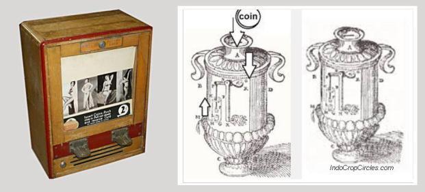 Mesin layan diri otomatis dengan koin di tahun 1960=an (kiri) dan mesin layan diri dengan koin dari masa lalu (kanan)