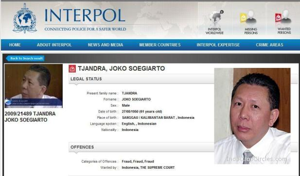 Djoko Soegiarto Tjandra (Tjan Kok Hui) buronan interpol