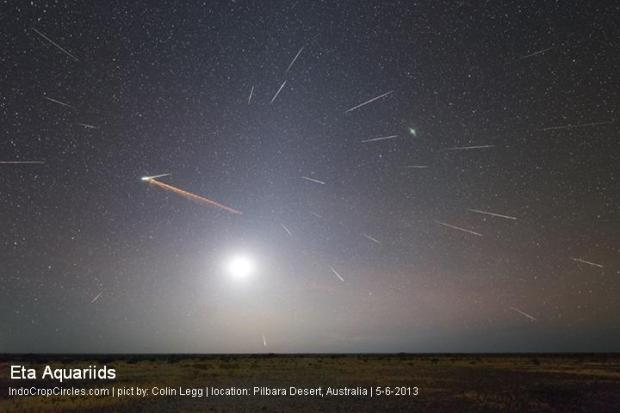 The 2013 Eta Aquarid meteor shower was fantastic as viewed from Earth's Southern Hemisphere. Colin Legg created this composite of his experience on May 6, 2013. He wrote, 'Composite of approximately 50 images containing 26 meteors, meteor train, 17 % moon, zodiacal light and Pilbara desert. 60 km South of Newman, Western Australia.'