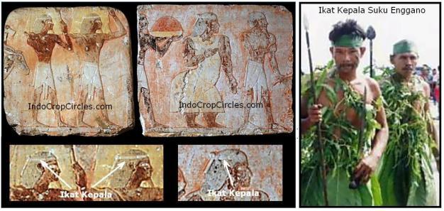 Ikat kepala Bangsa Punt (kiri) dan ikat kepala suku Enggano (kanan)