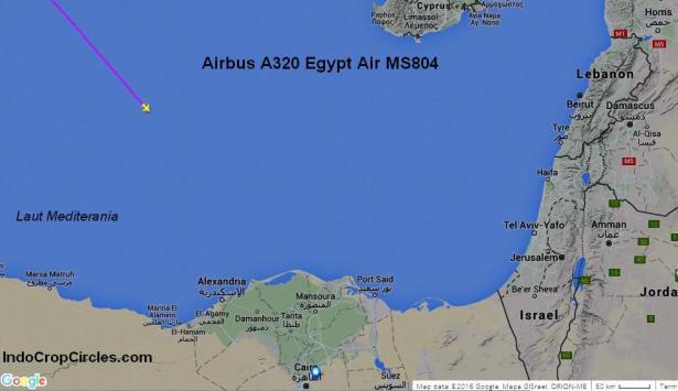 Posisi terakhir MS804 di atas Laut Mediterania (Laut Tengah) pada radar sebelum hilang