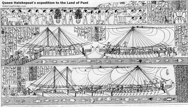 Relief yang digambar ulang memperlihatkan perahu cadik dalam Ekspedisi ke wilayah timur enuju ke Negeri Punt (Land of Punt) oleh dinasti Fir'aun dibawah pimpinan Ratu Hatshepsut.