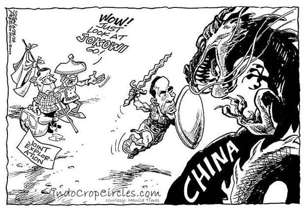 Karikatur Jokowi di koran Manila Times setelah mengunjungi Kepulauan Natuna.