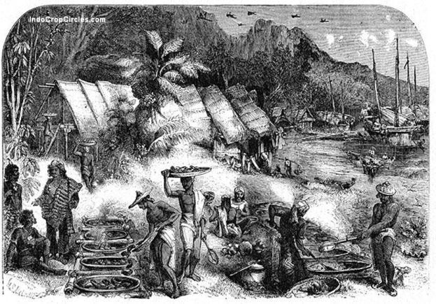 Para pelaut Makassar (Macassans) sedang bertransaksi dengan Suku Marege di pantai utara Australia yang sekarang dikenal sebagai daerah Victoria.