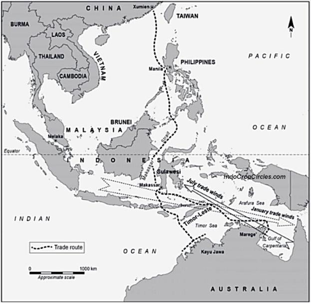 """Peta rute perdagangan (trade route) antara Makassar dan sekitar Indonesia timur dan Australia. Tampak wilayah bernama """"Kayu Jawa"""" dan """"Marege"""" di wilayah Australia Utara."""