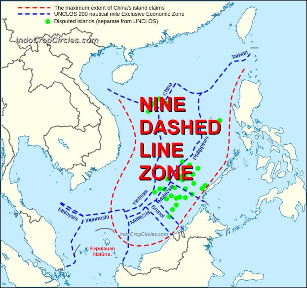 Tampak zona Nine-dashed Line RRT merusak semua Zona ZEE perairan laut negara-negara ASEAN yang masih berkonflik di Laut Cina Selatan.