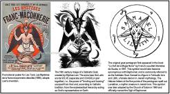 "Kambing pentagram asli pertama kali muncul dalam buku ""La Clef de la Magie Noire"" oleh okultis Perancis Stanislas de Guaita, pada tahun 1897. Simbol ini kemudian identik dengan Baphomet, yang disebut Kambing Sabat . Samael adalah tokoh dalam pengetahuan Talmud dan Lilith, setan perempuan dalam mitologi Yahudi. Huruf Ibrani pada 5 poin dari pentagram menguraikan Leviathan, makhluk mitis dalam pengetahuan Yahudi. Simbol ini kemudian diadaptasi oleh Gereja Setan tahun 1969 dan secara resmi bernama Sigil of Baphomet."