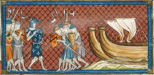 Raja Perancis, Philippe Auguste ketika mendarat di Palestina untuk menghadang Pasukan Templar. (Detail of a miniature of King Philip II of France arriving in the Holy Land).