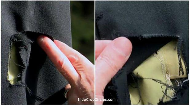 Salah satu bukti fisik lannya, celana panjang yang dipakai Robert Taylor saat kejadian pagi itu menunjukkan bekas-bekas robekan di bagian paha kanan dan paha kiri atas.