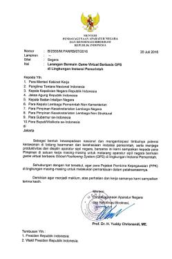 Surat kemen PAN tentang larangan bermain game virtual berbsis GPS bagi pegawai negeri.
