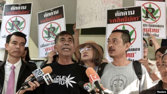 Aktivis ganja Thailand saat menyuarakan legalisasi ganja.